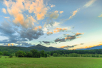 Clouds at Sunset over Fields and Mountains at Cades Cove, Great Smoky Mountains National Park, TN