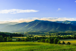 Early Morning Light over Fields and Mountains at Cades Cove, Great Smoky Mountains National Park, TN