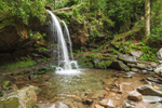 Grotto Falls on Roaring Fork Creek, View from Trillium Gap Trail off Roaring Fork Motor Nature Trail, Great Smoky Mountains National Park, TN