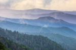 """Mountain Layers with """"Smoke"""" in Early Morning Light, View from Overlook on Newfound Gap Road, Great Smoky Mountains National Park, NC"""