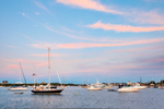 Boats in Great Salt Pond at Sunset, New Harbor, Town of New Shoreham, Block Island, RI