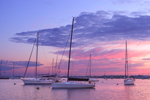 Boats in Great Salt Pond at Sunrise, New Harbor, Town of New Shoreham, Block Island, RI