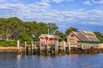 Dockhouses and Docks on Uncatena Island, Hadley Harbor, Elizabeth Islands, Town of Gosnold, MA