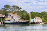 "Ferry ""Cormorant"" at Dock on Naushon Island, Hadley Harbor, Elizabeth Islands, Town of Gosnold, MA"