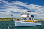 Grand Banks Trawler in Cuttyhunk Pond, Cuttyhunk Island, Elizabeth Islands, Town of Gosnold, MA