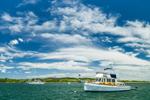 Grand Banks Trawler in Cuttyhunk Pond, Cuttyhunk Island, Elizabeth Islands, Town of Gosnold, MA
