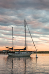 Ketch at Sunset in Cuttyhunk Pond, Cuttyhunk Island, Elizabeth Islands, Town of Gosnold, MA