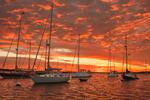 Dramatic Sunrise over Boats in Cuttyhunk Pond, Cuttyhyunk Island, Elizabeth Islands, Town of Gosnold, MA