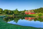 Red Barn Reflecting in Farm Pond in Early Morning Light, Beacon Hollow Farm, Town of New Shoreham, Block Island, RI