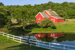 Red Barn Reflecting in Farm Pond with White Fence in Early Morning Light, Beacon Hollow Farm, Town of New Shoreham, Block Island, RI