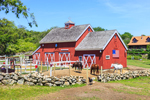 Red Barn with American Flag, Horses,  and Stone Walls, Beacon Hollow Farm, Town of New Shoreham, Block Island, RI