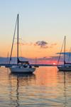 Sailboats at Sunrise in Greenwich Bay, Narragansett Bay, Warwick, RI