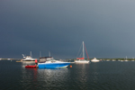 Dark Storm Clouds over Boats in Potter Cove, Prudence Island, Town of Portsmouth, RI