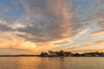 Sunset over Poplar Point Lighthouse, Wickford Harbor, Narragansett Bay, Village of Wickford, North Kingstown, RI