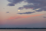 Full Moon over Narragansett Bay near Wickford Harbor at Sunset, Village of Wickford, North Kingstown, RI