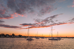 Sunset over Boats in Wickford Harbor, Narragansett Bay, Village of Wickford, North Kingstown, RI