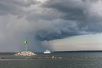 Motor Cruiser on Narragansett Bay under Thunderstorm at Entrance to Wickford Harbor, Village of Wickford, North Kingstown, RI