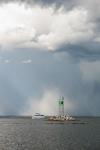 Motor Cruiser on Narragansett Bay under Thunderstorm at Entrance to Wickford Harbor, Village of Wickford, North Kingstown, RI
