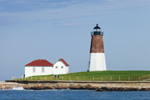 View of Point Judith Lighthouse from the Water, Block Island Sound, Rhode Island Sound, Narragansett Bay, Narragansett, RI