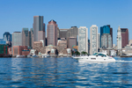 View of Boston Skyline from the Water with Power Boat, Boston Waterfront and Harbor, Boston, MA