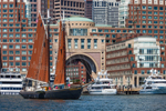 """Wooden Schooner """"Roseway"""" under Sail in Boston Harbor near Arch of Boston Harbor Hotel on Rowes Wharf, Boston Waterfront and Harbor, Boston, MA"""