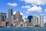 View of Boston Skyline from the Water, Boston Waterfront and Harbor, Boston, MA