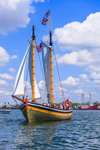 "Schooner ""Fame"" under Full Sail in Boston Harbor with Nantucket Lightship in Background, Boston, MA"