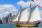 "Schooner ""Fame"" under Full Sail in Boston Harbor with Boston Skyline and Waterfront in Background, Boston, MA"