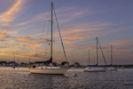 Sunset over Boats in Pine Island Bay, off Fishers Island Sound, Groton, CT