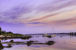 View from Pine Island with Boats and Avery Point Lighthouse at Sunrise, Pine Island Bay and Fishers Island Sound, Groton, CT