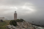 Avery Point Lighthouse in Fog at Sunrise, University of Connecticut at Avery Point, Groton, CT