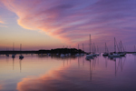 Sunrise over Boats in Pine Island Bay, off Fishers Island Sound, Groton, CT