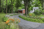 Flower-lined Driveway with Red Barn and White House, Old Mystic, Groton, CT