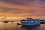 Sunrise over Project Oceanology Boat in Pine Island Bay, off Fishers Island Sound, Groton, CT