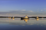 Motor Cruisers in Early Morning Calm at Anchor in Cedar Island Cove, Coecles Harbor, off Gardiners Bay, Long Island, Shelter Island, NY