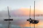 Small Catamarans in Ground Fog at Sunrise on White Lake, White Lake State Park, Tamworth, NH