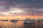 Sunset over Boats in Great Salt Pond, New Harbor, Town of New Shoreham, Block Island, RI
