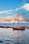 Storm Clouds and Late Evening Light over Boats in Great Salt Pond, New Harbor, Town of New Shoreham, Block Island, RI
