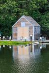 Wooden Boathouse Refecting in Lake Tashmoo, Vineyard Haven, Martha's Vineyard, Tisbury, MA