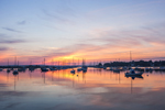Boats at Sunrise in North Cove, Harbor of Refuge, Connecticut River, Old Saybrook, CT