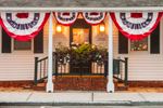 Early Morning at Amasa Hayden House with Flag Banners, Built 1790, Annex of Griswold Inn, Griswold Square, Essex, CT