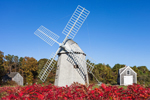 18th Century Higgins Farm Windmill, 1795 Harris-Black House, and 1867 Blacksmith Shop in Autumn, National Register of Historic Places, Drummer Boy Park, Cape Cod, Brewster, MA