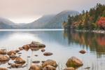 The Bubbles and Jordan Pond on a Foggy Fall Day, Acadia National Park, Mt Desert Island, Mt Desert, Maine