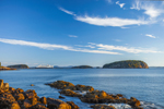 Porcupine Islands and Cruise Ship in Early Morning Light, View from Dorr Point at Compass Harbor, Acadia National Park, Mt Desert Island, Bar Harbor, ME