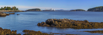 Panoramic View of Frenchman Bay, Porcupine Islands and Cruise Ships from Pebble Cove at Dorr Point, Acadia National Park, Mt Desert Island, Bar Harbor, ME