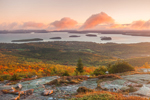 View of Porcupine Island and Bar Harbor from Cadillac Mountain at Sunrise, Acadia National Park, Mt Desert Island, Bar Harbor, ME