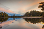 Sunset on Long Pond with Trees and Clouds Reflecting in Water, Mt Desert Island, Mount Desert, ME