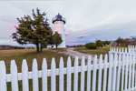 East Chop Lighthouse with White Picket Fence at Sunset, Telegraph Hill, Martha's Vineyard, Oak Bluffs, MA