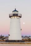 Full Moon at Edgartown Lighthouse at Sunrise, Martha's Vineyard, Edgartown, MA