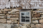 Window, Stone Foundation, and Weathered Cedar Shingles on Old Barn at Hoft Farm Preserve, The Nature Conservancy, Martha's Vineyard, West Tisbury, MA